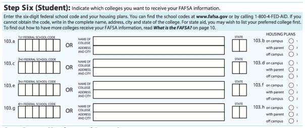 Students can list up to 10 colleges when filling out the electronic version of the FAFSA