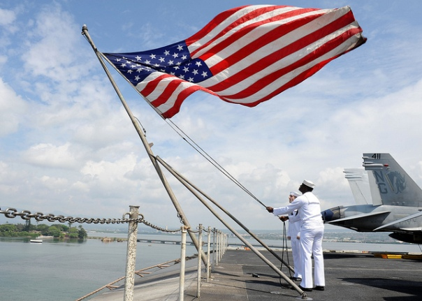 """Sailors raise the American Flag by The Official U.S. Navy Page licensed by CC BY 2.0"