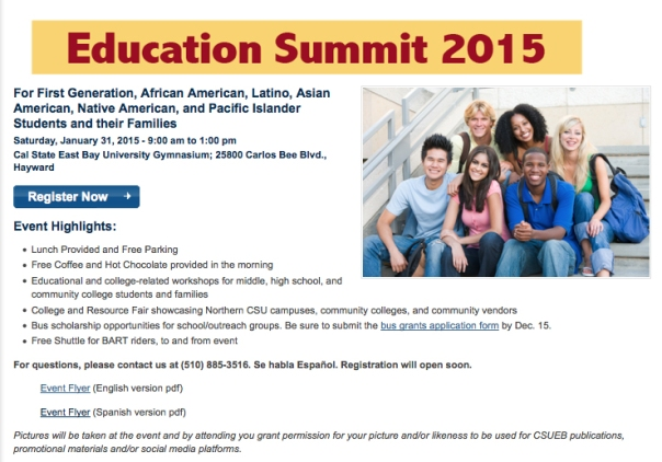 <center>Education Summit 2015 at CSU East Bay<center>