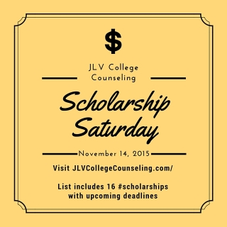 Scholarship Saturday - November 14, 2015 | 16 #college #scholarships and #contests with upcoming deadlines | JLV College Counseling Blog